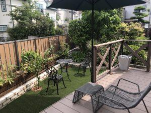 横浜市戸塚区 リビングからの眺めをキレイにしたい。庭園リフォーム(人工芝・木製プランター・レンガ等)
