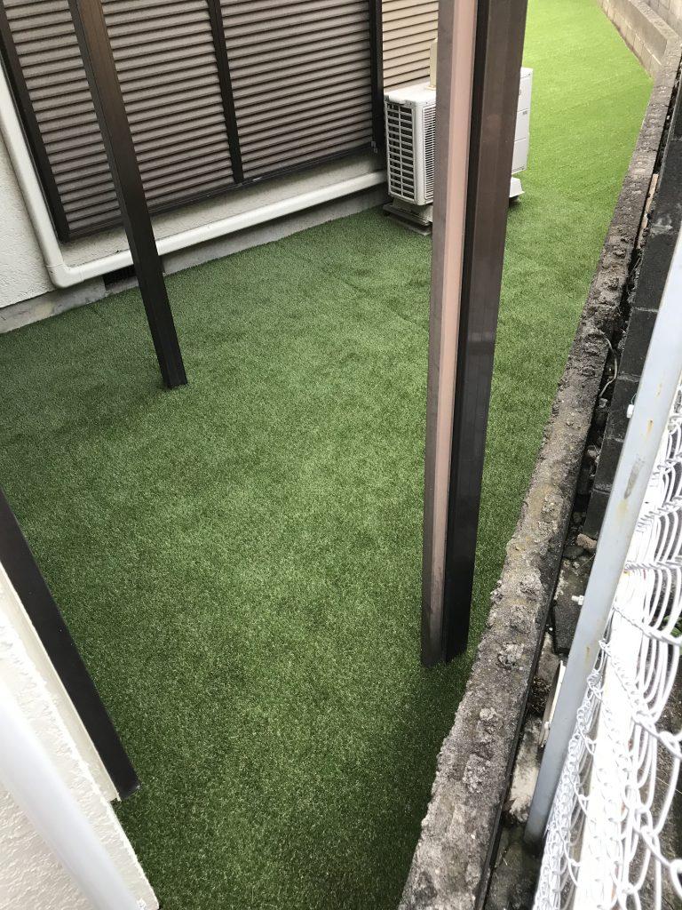 横浜市戸塚区 孫の遊び場としてプールを!じいじの願い。 人工芝で庭園リフォーム